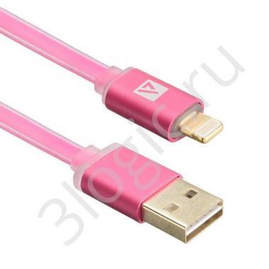 USB кабель ACD-Smart Lightning ~ USB-A  2-сторонние коннекторы, индикатор заряда, TPE, 1м, маджента (ACD-U915-P6M)