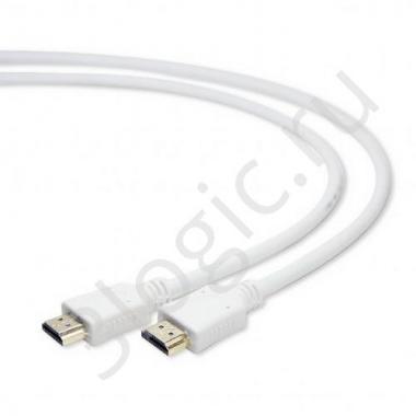 Кабель HDMI Cablexpert CC-HDMI4-W-6, 1.8м, v1.4, 19M/19M, белый, позол.разъемы, экран, пакет {100}