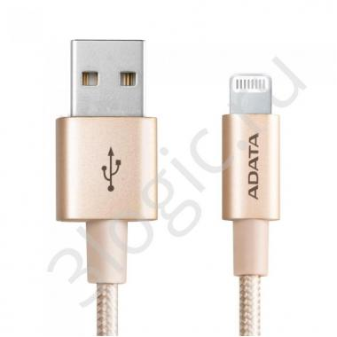 USB кабель USB Cable ADATA Lightning-USB AMFIAL-1MK-CGD 1m, Aluminum casings, Sync & Charge, Fast charging up to 2.4A, Apple MFi-certified, Gold, RTL