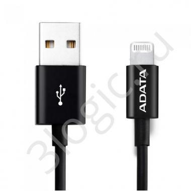 USB кабель USB Cable ADATA Lightning-USB AMFIPL-1M-CBK 1m, Sync & Charge, Fast charging up to 2.4A, Apple MFi-certified, Black, RTL