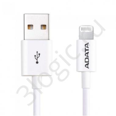 USB кабель USB Cable ADATA Lightning-USB AMFIPL-1M-CWH 1m, Sync & Charge, Fast charging up to 2.4A, Apple MFi-certified, White, RTL