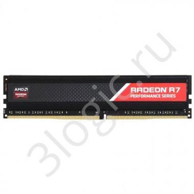 Модуль памяти 16GB AMD Radeon™ DDR4 2400 DIMM R7 Performance Series Black Gaming Memory R7S416G2400U2S Non-ECC, CL16, 1.2V, Heat Shield, RTL, (182927)