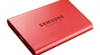 "Жесткий диск 1.8"" 1TB Samsung T5 External SSD MU-PA1T0R/WW USB 3.1 Gen 2 Type-C, Up to 540MB/s, Red, RTL {5} (919375)"