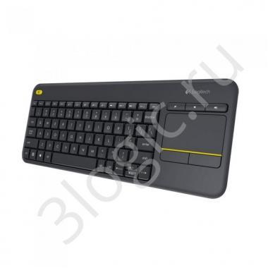 Клавиатура беспроводная Logitech K400 Plus Black [920-007147] черная, мультимедийная, 85 клавиш, сенсорная панель, 2.4GHz, USB-ресивер (Logitech Unifying®)