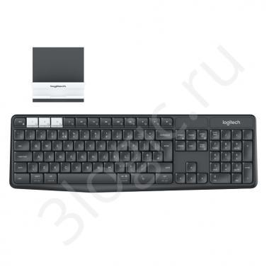 Клавиатура беспроводная Logitech K375s Multi-Device [920-008184] черная, 101 клавиша с защитой от воды, Bluetooth+2.4GHz, USB-ресивер (Logitech Unifying®), подставка под смартфон