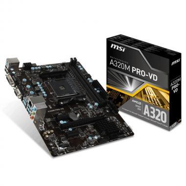 Материнская плата A320M PRO-VD, Socket AM4, AMD® A320, 2xDDR4-1866, 1xPCI-Ex16x, 2xPCI-Ex, D-SUB+DVI-D, 4xSATA3(RAID 0/1/10), 8 Ch Audio, GLan, (2+4)xUSB2.0, (4+2)xUSB3.1, 1xPS/2, mATX, RTL {}