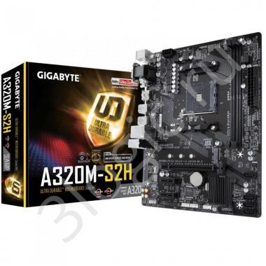 Материнская плата GA-A320M-S2H, Socket AM4, AMD A320, 2xDDR4-2400, D-SUB+DVI-D+HDMI, 1xPCI-Ex16, 2xPCI-Ex1, 4xSATA3(RAID 0/1/10), 1xM.2, 8 Ch Audio, GLan, (2+4)xUSB2.0, (4+2)xUSB3.1, 2xPS/2, mATX, RTL {10}