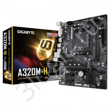 Материнская плата GA-A320M-H, Socket AM4, AMD A320, 2xDDR4-2667, DVI-D+HDMI, 1xPCI-Ex16, 2xPCI-Ex1, 4xSATA3(RAID 0/1/10), 1xM.2, 8 Ch Audio, GLan, (2+4)xUSB2.0, (4+2)xUSB3.1, 2xPS/2, mATX, RTL {10}