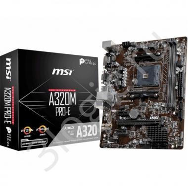Материнская плата A320M PRO-E, Socket AM4, AMD® A320, 2xDDR4-1866, 1xPCI-Ex16x, 2xPCI-Ex, D-SUB+DVI-D, 4xSATA3(RAID 0/1/10), 8 Ch Audio, GLan, (2+4)xUSB2.0, (4+2)xUSB3.1, 1xPS/2, mATX, RTL {20}