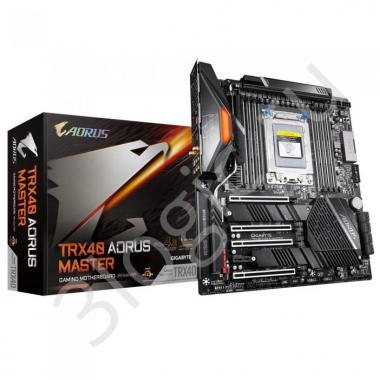 Материнская плата TRX40 AORUS MASTER, Socket sTRX4, AMD TRX40, 8xDDR4-3200, 4xPCI-Ex16, 1xPCI-Ex1, 8xSATA3(RAID 0/1/10), 3xM.2, 8 Ch Audio, 1xGLan, 1x5Gb Lan, Wi-Fi, (2+4)xUSB2.0, (5+4)xUSB3.2, (1+1)xUSB3.1 Type-C™,  ATX, RTL, {4}