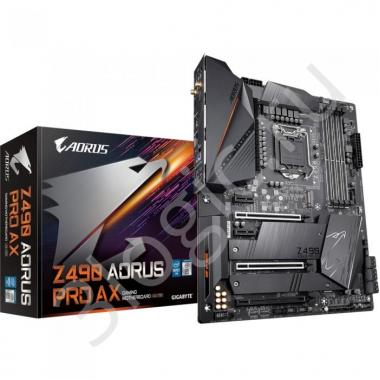 Материнская плата Z490 AORUS PRO AX, Socket 1200, Intel®Z490, 4xDDR4-2933, HDMI, 3xPCI-Ex16, 1xPCI-Ex1, 6xSATA3(RAID 0/1/5/10), 2xM.2, 8Ch Audio, 2,5GLan, Wi-Fi, (4+4)xUSB2.0, (5+2)xUSB3.2, (1+1)xUSB3.2 Type-C™, ATX, RTL, {6}