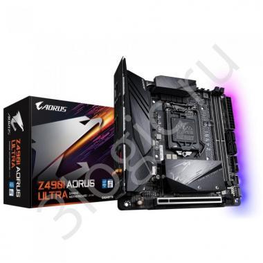 Материнская плата Z490I AORUS ULTRA, Socket 1200, Intel®490, 2xDDR4-2933, HDMI+DP, 1xPCI-Ex16, 4xSATA3(RAID 0/1/5/10), 2xM.2, 8 Ch Audio, 2,5GLan, Wi-Fi 802.11, (2+4)xUSB2.0, (5+2)xUSB3.2, (1+1)xUSB 3.2 Type-C™, Mini-ITX, RTL {10}