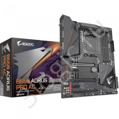 Материнская плата B550 AORUS PRO AC, Socket AM4, AMD B550, 4xDDR4-3200, HDMI, 3xPCI-Ex16, 2xPCI-Ex1, 6xSATA3(RAID 0/1/10), 2xM.2, 8 Ch Audio, 2,5GLan, WiFi, (6+2)xUSB2.0, (5+2)xUSB3.2, (1+0)USB3.2 Type-C™, ATX, RTL {8}