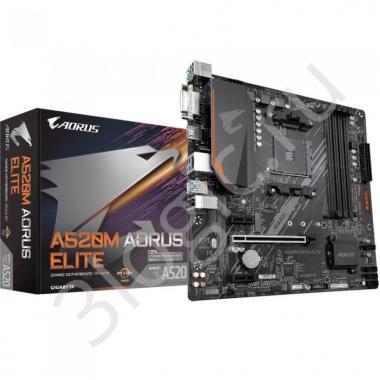 Материнская плата A520M AORUS ELITE, Socket AM4, AMD A520, 4xDDR4-3200, DVI-D+HDMI, 1xPCI-Ex16, 2xPCI-Ex1, 4xSATA3(RAID 0/1/10), 1xM.2, 8 Ch Audio, GLan, (2+2)xUSB2.0, (4+2)xUSB3.2, 1xPS/2, mATX, RTL {10}