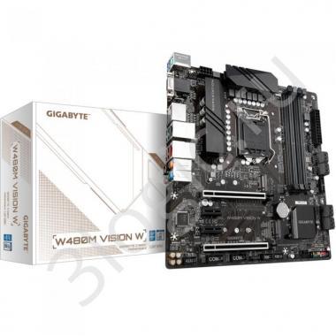 Материнская плата W480M VISION W, Socket 1200, Intel®W480, 4xDDR4-2933, D-SUB+HDMI+DP+DP, 2xPCI-Ex16, 2xPCI-Ex1, 8xSATA3(RAID 0/1/5/10), 2xM.2, 8Ch Audio, 1xGLan, 1x2,5GLan, (0+4)xUSB2.0, (6+2)xUSB3.2, 1xPS/2, mATX, RTL, {10}