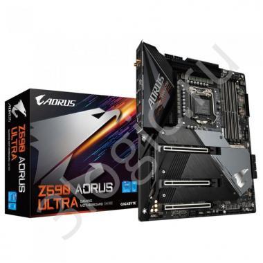 Материнская плата Z590 AORUS ULTRA, Socket 1200, Intel®Z590, 4xDDR4-3200, DP, 3xPCI-Ex16,  6xSATA3(RAID 0/1/5/10), 3xM.2, 8Ch Audio, 2.5GLan, Wi-Fi, (4+4)xUSB2.0, (8+2)xUSB3.2, (1+1)xUSB3.2 Type-C™, ATX, RTL, {5}
