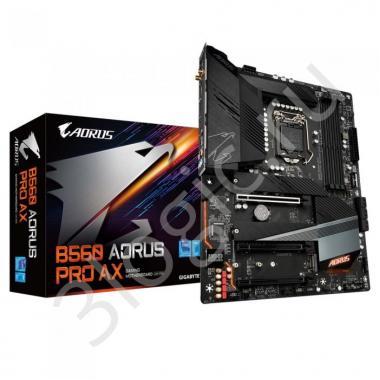 Материнская плата B560 AORUS PRO AX, Socket 1200, Intel®B560, 4xDDR4-3200, HDMI+DP, 3xPCI-Ex16, 6xSATA3(RAID 0/1/5/10), 3xM.2, 8Ch Audio, 2,5GLan, WiFi, (2+4)xUSB2.0, (5+2)xUSB3.2, (1+1)xUSB3.2 Type-C™, 1xPS/2, ATX, RTL, {6}