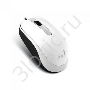 Мышь Genius DX-120 White [31010105102] белая, оптическая, 1000dpi, 3 кнопки, USB кабель 1.5м