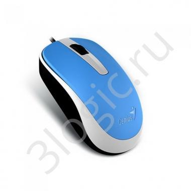 Мышь Genius DX-120 Blue [31010105103] голубая, оптическая, 1000dpi, 3 кнопки, USB кабель 1.5м