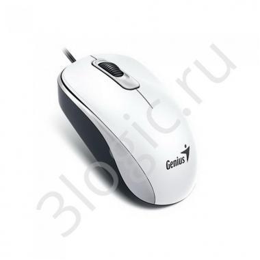 Мышь Genius DX-110 White [31010116102] белая, оптическая, 1000dpi, 3 кнопки, USB кабель 1.5м
