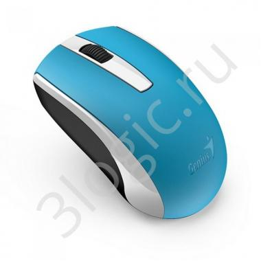 Мышь беспроводная Genius ECO-8100 Blue [31030004402] голубая, BlueEye, 1600dpi, 3 кнопки, 2.4GHz, встроенный аккумулятор, USB приемник